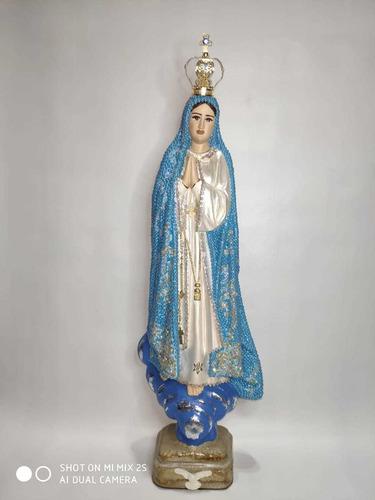 Imagem 1 de 4 de Nossa Senhora De Fátima Em Gesso - 42cm