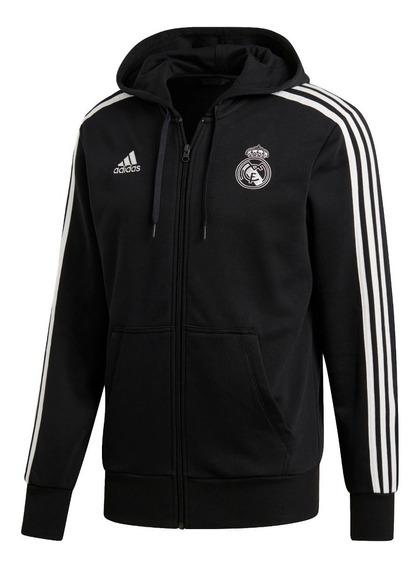 adidas Campera C/ Capucha 3 Tiras Real Madrid Negro