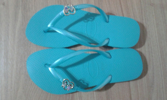 Chinelo Havaiana Slim Azul Customizado 35/36