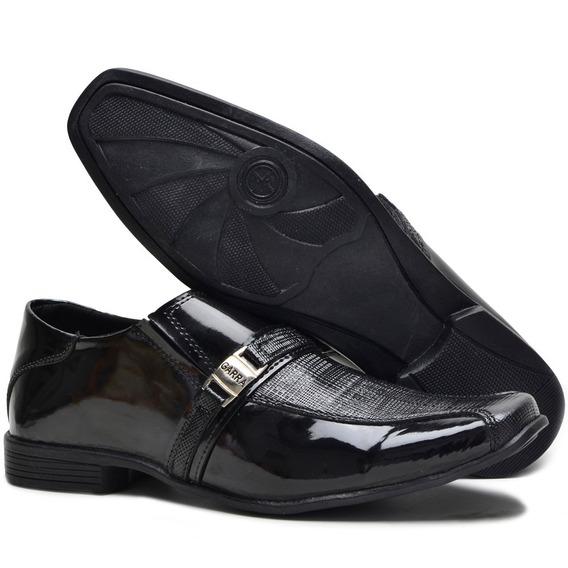 Sapato Social Masculino Em Couro Fivela C/ Elástico Conforto