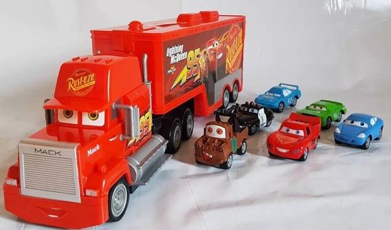 Carreta Mack Caminhao Controle Remoto +6 Carrinhos Ferro