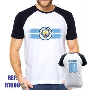 Camisa Raglan Manchester City Futebol Personalizada Com Nome