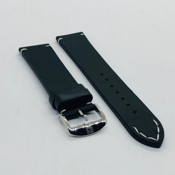 Pulseira Relógio Couro P.u. Benyar 22 Mm Costura Branca
