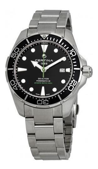 Relógio Masculino Suíço Certina Action Diver Preto/verde/aço