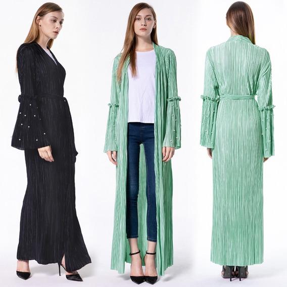 Cárdigan Kimono Para Mujer Ropa De Abrigo Plisada Sólida D