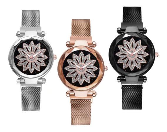 Relogio De Pulso Feminino Luxo Pulseira Magnética 3 Relógios