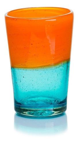 Imagen 1 de 4 de Vaso Agua Naranja Conico Vidrio Soplado Artesanal 12 Pack