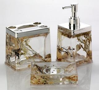 Set De Baño 3 Pzas Portacepillo Dispenser Jabonera Caracol