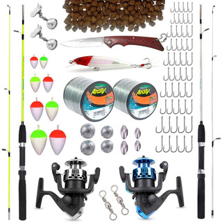 Kit Para Pesca 2 Varas 2 Molinetes + Acessórios Até 6kg C Nf