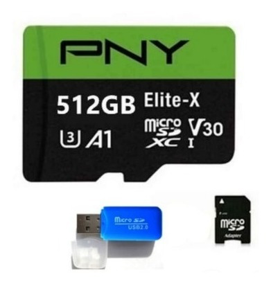 Imagem 1 de 2 de Cartão De Memória 512 Gb, Pny Elite Micro, Alta Velocidade
