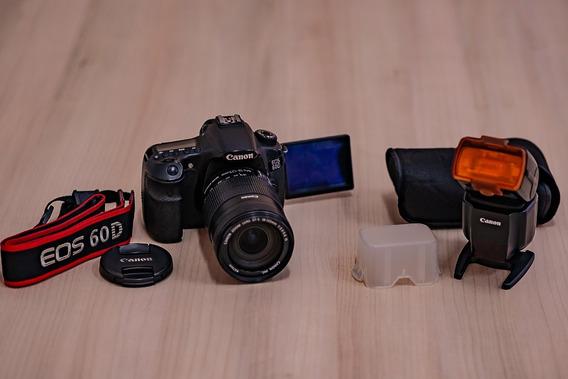 Canon 60d + Lente 18 135mm + Flash Canon 430ex Iii Rt