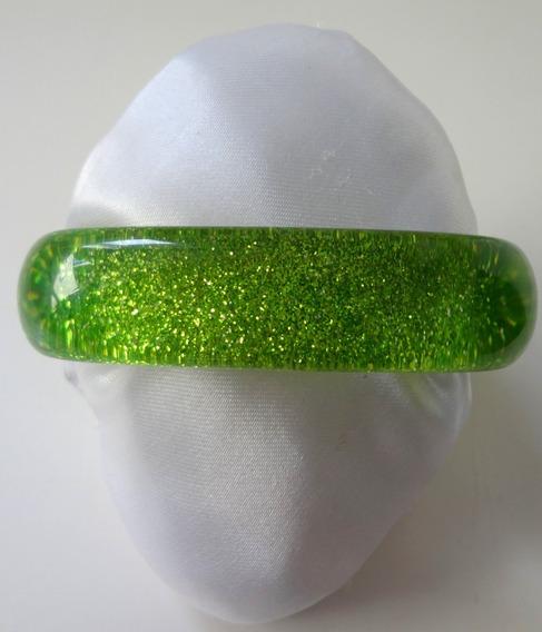 Pulseira Acrílico Verde Com Brilho