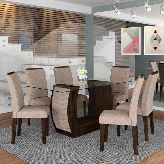 Conjunto Sala De Jantar 6 Cadeiras Líbano Imbuia