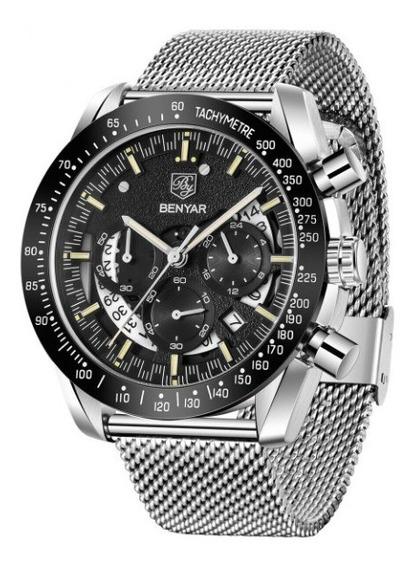 Relógio Benyar 45mm Mostrador Preto Aço Inoxidável