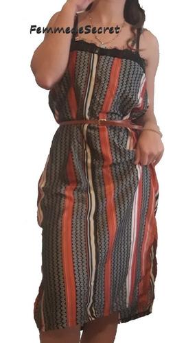 Vestido Seda Con Encaje Y Tajo Lateral Oferta Talle 2