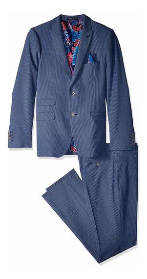 Traje Para Hombre Paisley & Gris Ashton Slim Fit Azul 38r