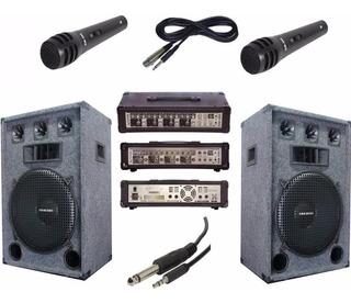 Combo 2 Bafles De 15 3 Vias Amplif. 9 Entr. 2 Mic Y Cable Pc
