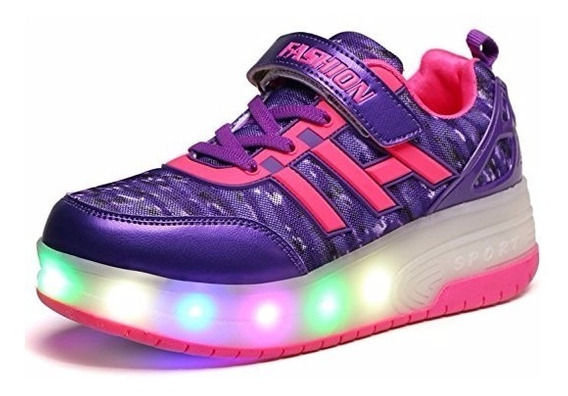 Tenis Luces Led Patines Lafreddy Blink Wheeled Skate Shoe 13