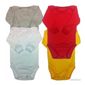 Body Manga Longa Infantil Bebê Liso 100% Algodão Kit C/ 12