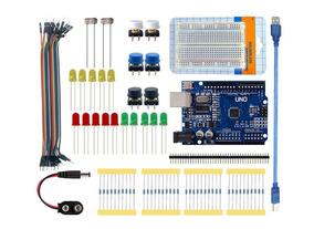 Kit Arduino Uno R3 Iniciante 88pcs + Protoboard + Brinde