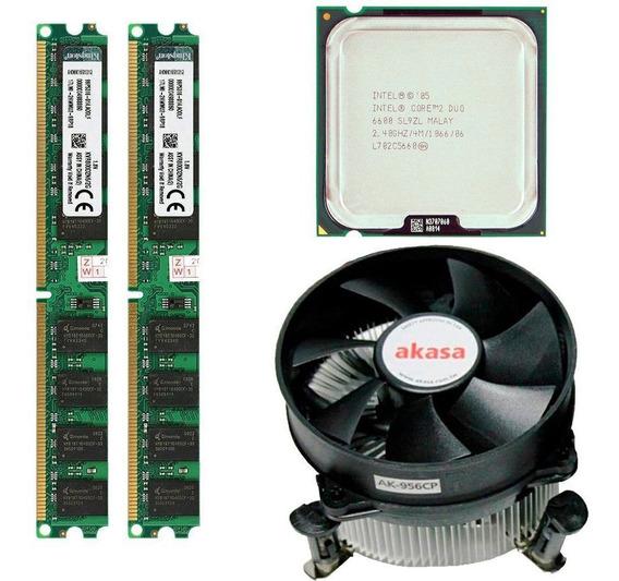 Kit Core 2 Duo E6600 + 4gb Memoria Ddr2 2x2 800 Cooler Akasa