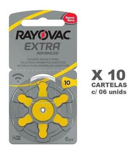 60 Pilhas Auditivas Rayovac Tamanho 10 - 10 Cartelas