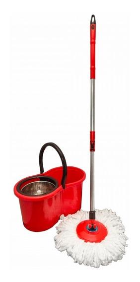 Balde Spin Mop Vermelho 360° Inox Trava Gatilho On / Off