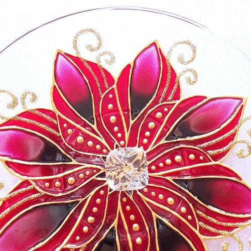 Incensário Mandala Flor Vermelha Catavento Redondo Em Vidro