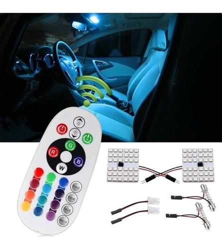 Led Rgb  Plaqueta C/control Remoto X2 36 Luces Interior Auto