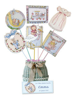 Toppers Para Baby Shower N1 En Cartulina 16 Grs (12 Unid)