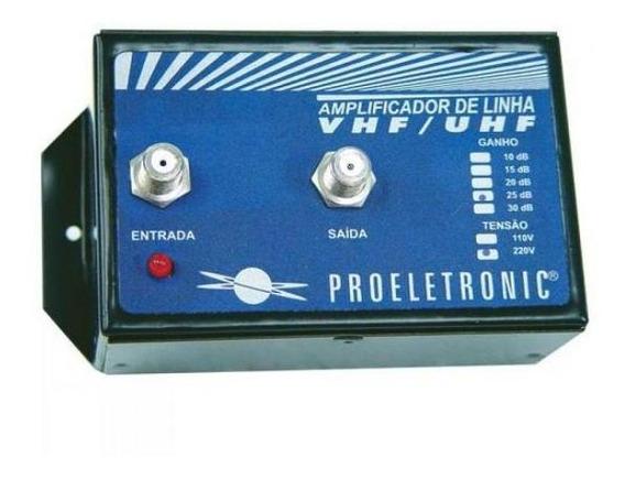 Amplificador De Linha Vhf/uhf 30db Bivolt Proeletronic C/nf
