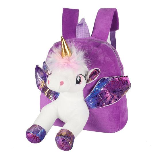 Mochila Nena Jardín Escolar Suave Unicornio Peluche Pony Tsr