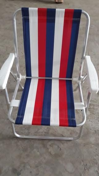 Kit 2 Cadeiras De Praia Varanda Alta Alumínio Listradas