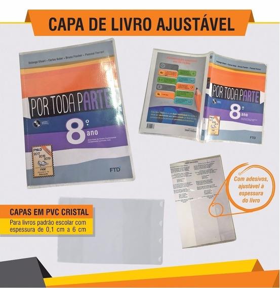 Capa De Livro Escolar Ajustável - Kit 10 Unidades