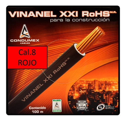 Caja 100 Mts Cable Rojo Thw Cal 8 Awg Condumex Vinanel Xxi