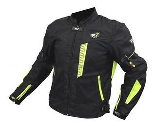 Chamarra Deportiva Con Protecciones R7-230 Textil Verde