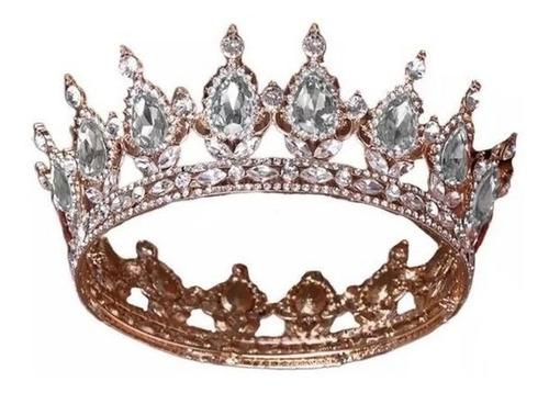 Imagen 1 de 3 de Corona Lujo Cristal Plateado Fondo Dorado Princesa