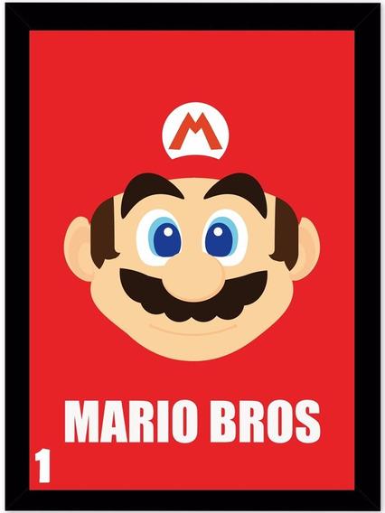Quadro Moldura Super Nitendo Mario Bros 30x40 Com Vidro