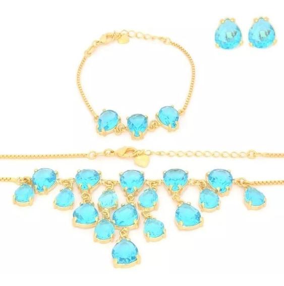 Conjunto Brincos ,pulseira E Colar Pedra Natural Azul