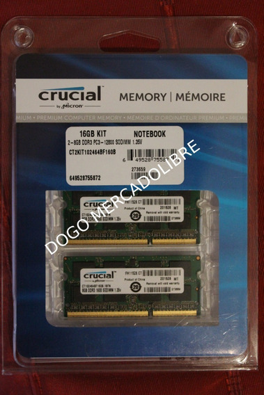 Memoria Ram Crucial 16gb (8gbx2) Ddr3l 1600 Mt/s Pc3-12800