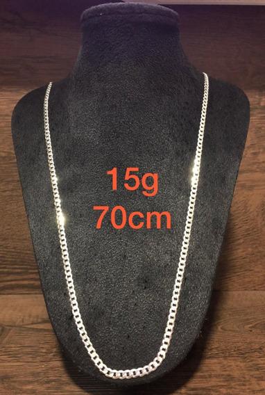 Colar De Prata Italiana 925 Modelo Groumet 15g 70cm