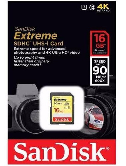 Cartão Sd Extreme 16gb 90mbs Sandisk Classe 10 4k