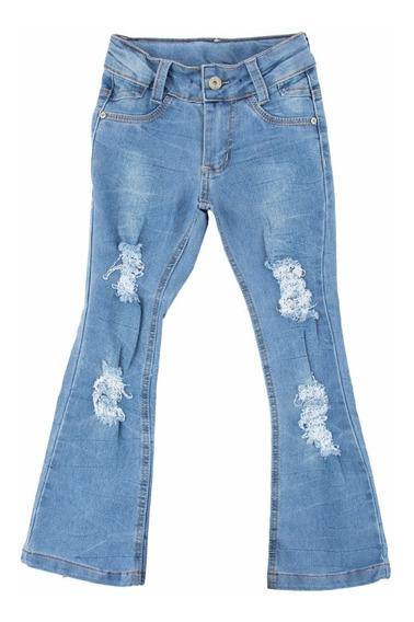 Calça Jeans Flare Rasgos Infantil Meninas Tam 4 6 8