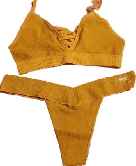 Bralet Yoga + Panty Conjunto Cordinado Victorias Secret Pink