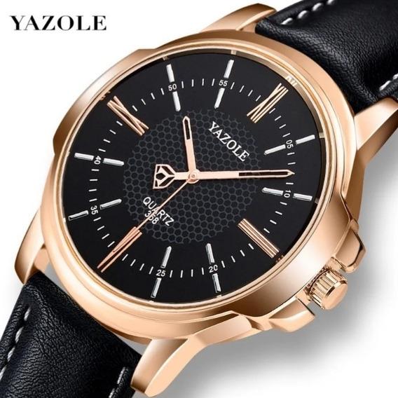 Relógio Yazole Social Masculino Original Couro Legítimo Luxo