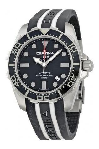 Relógio Suíço Certina Action Diver Preto/branco/borracha Iso