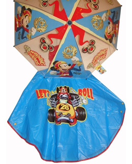 Piloto Capa + Paraguas Mickey Disney Original Línea Premium