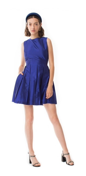 Vestido Antonieta Liso Azul Las Pepas