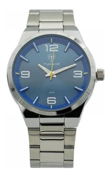 Relógio Masculino Analógico Tuguir 5440g Prata E Azul