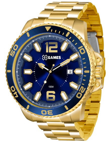 Relógio X-games Masculino Xmgs1019 D2kx Azul Dourado